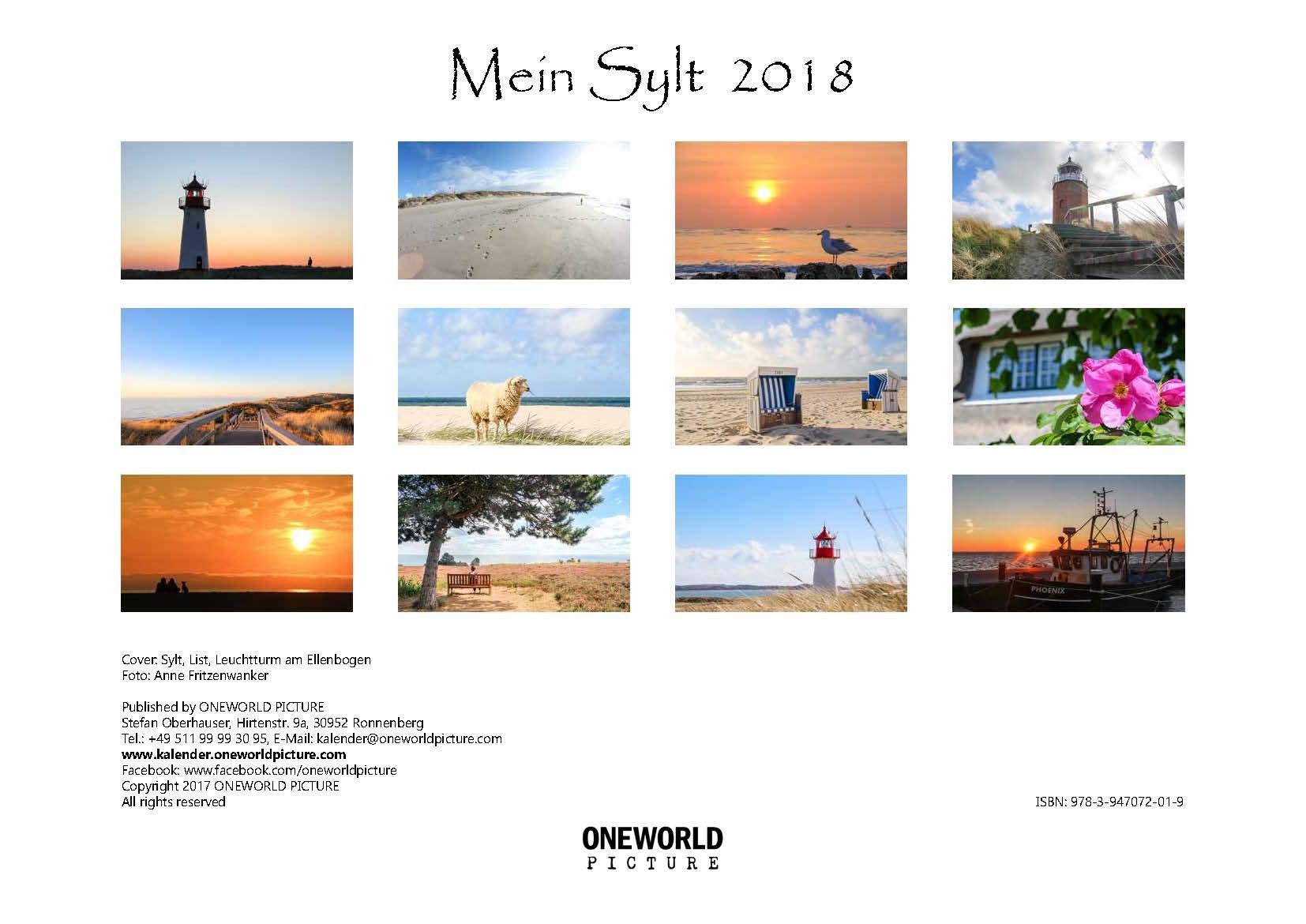 Rückseite - Kalender - Übersicht - Mein Sylt - ONEWORLD PICTURE
