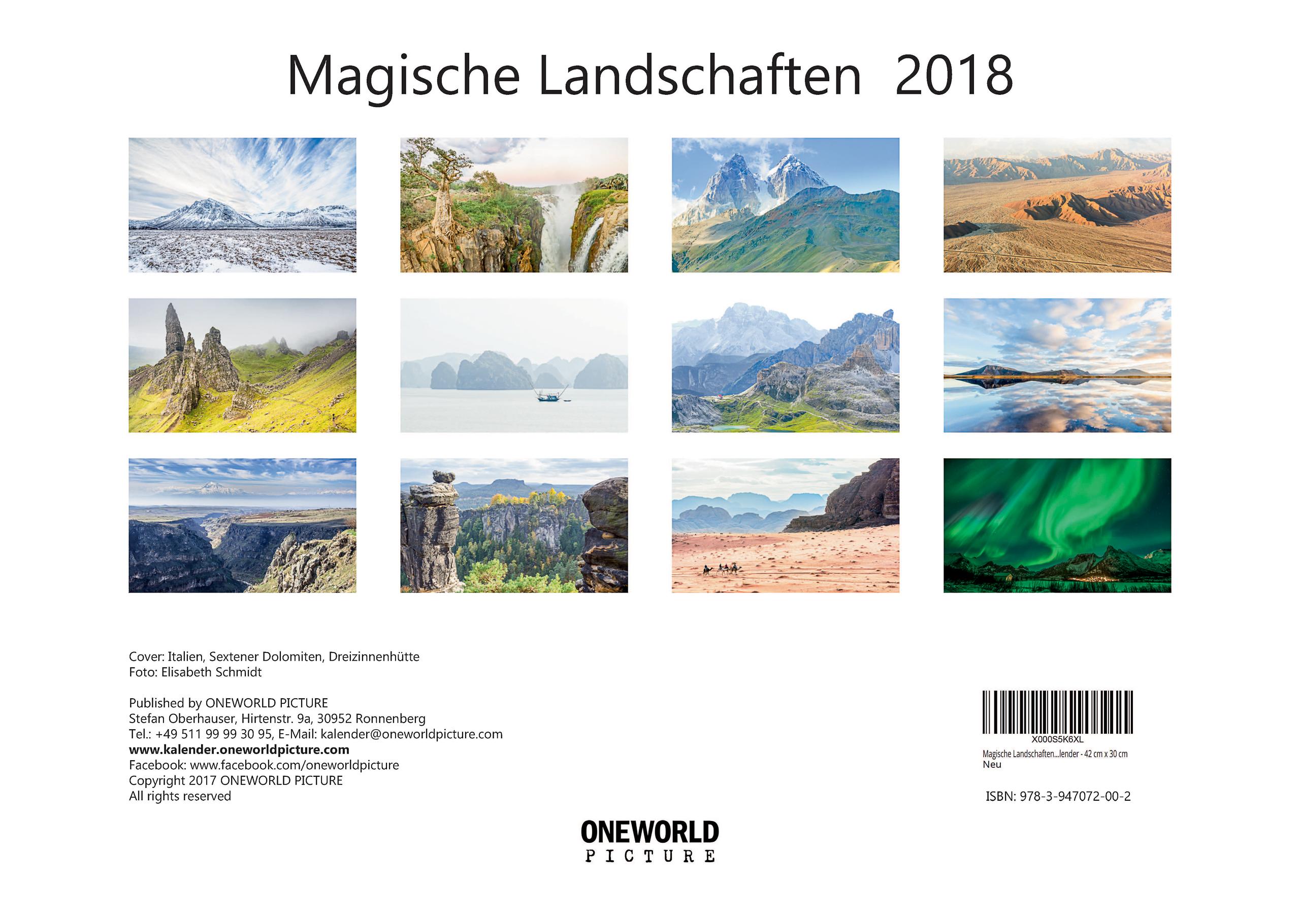 Rückseite - Kalender - Magische Landschaften - ONEWORLD PICTURE
