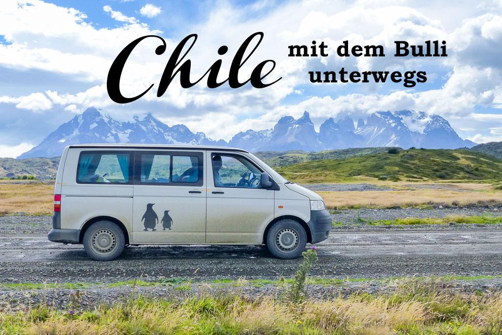 Chile, Región de Magallanes y de la Antártica Chilena, Ultima Esperanza, Torres del Paine, VW-Bus Bulli vor Bergkulisse